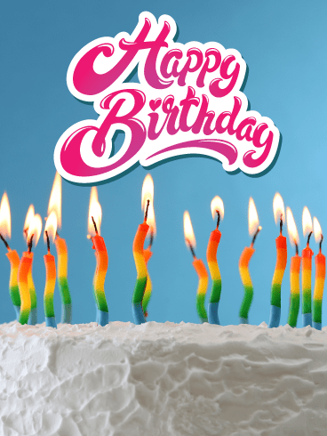 Rainbow Candles – Happy Birthday Card