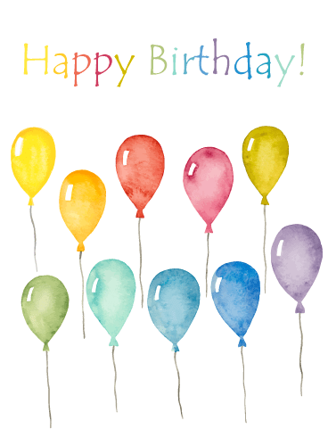 Water Painted Balloons – Happy Birthday Card