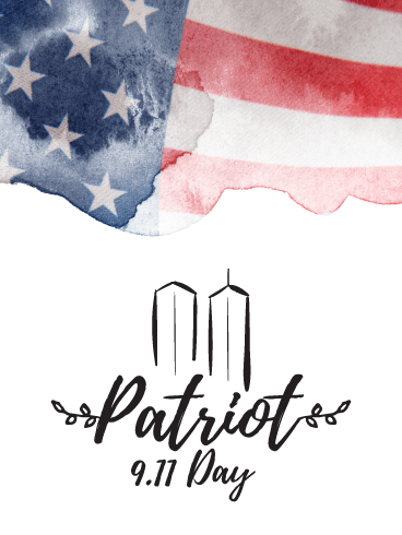 Water Colored Flag - Patriot Day Card
