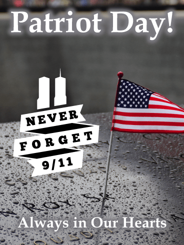 Twin Tower's Memorial Flag - Patriot Day Card