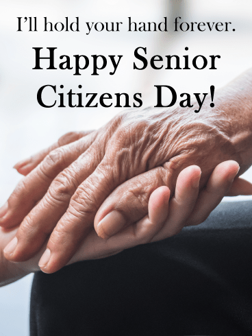 Holding hands - Happy Senior Citizens Day Card