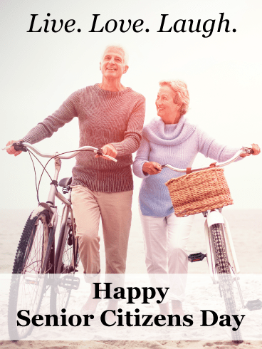 Couple with bikes - Happy Senior Citizens Day Card