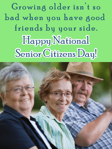 Friends on bench - Happy Senior Citizens Day Card