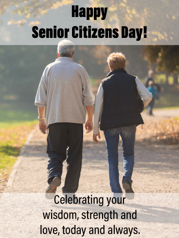 Couple walking - Happy Senior Citizens Day Card