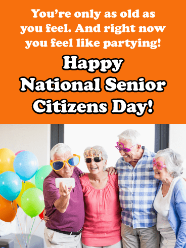 Old people party - Happy Senior Citizens Day Card