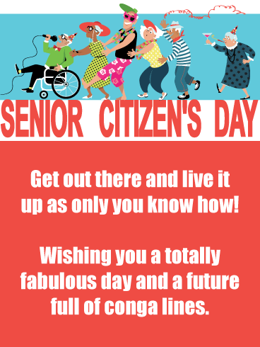 Conga Line- Happy Senior Citizens Day Card