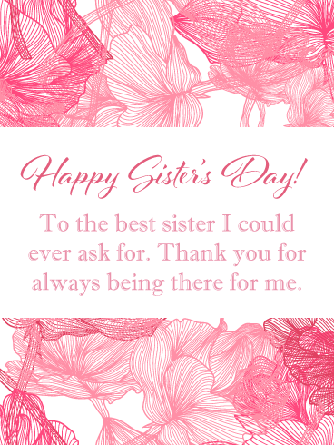 Pink Roses – Happy National Sister's Day Card