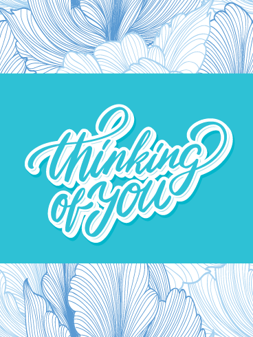Floral Blue – Thinking of You Card
