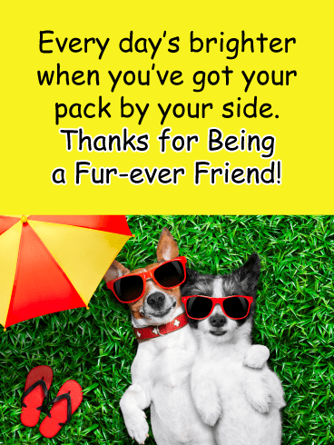 Cool dog pals - Thank You Card for Friends