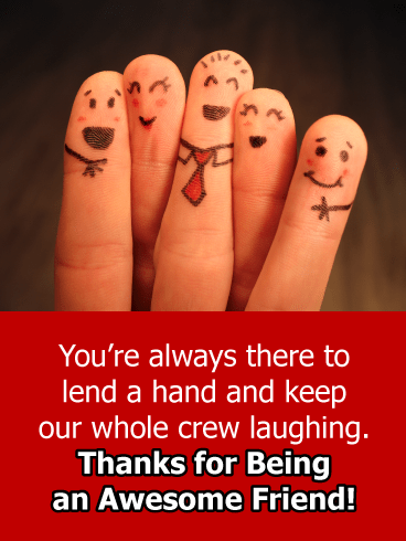 Smiling finger friends - Thank You Card for Friends