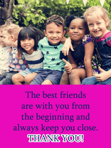 Young friends smiling - Thank You Card for Friends