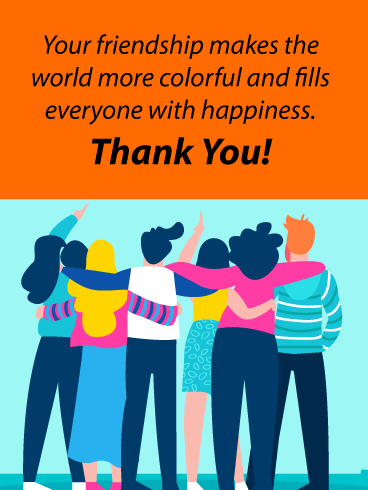 Colorful embrace - Thank You Card for Friends