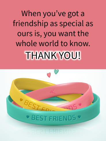 Best Friends Bracelets – Thank You Card for Friends