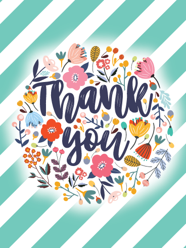 Striped Flowers – Thank You Card