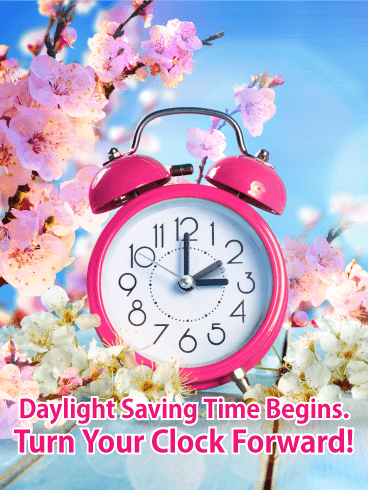 Spring Begins 2020.Yellow Spring Flower Daylight Saving Time Card Birthday