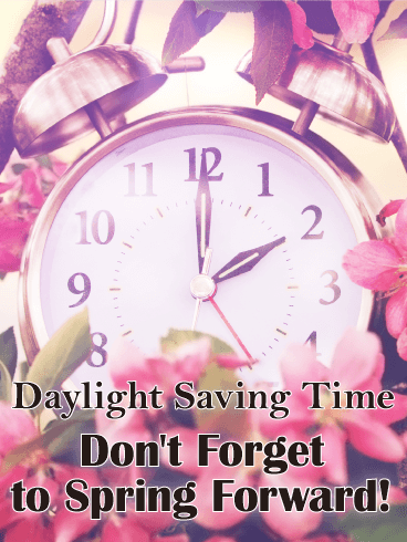 Spring Flower Daylight Saving Time Card