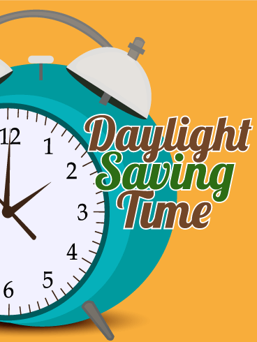 Orange Daylight Saving Time Card