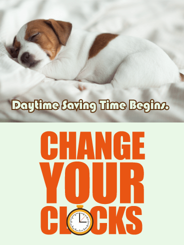 Sleeping Puppy - Daylight Saving Time Card