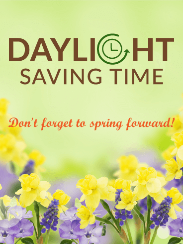 Pretty Spring Flowers Daylight Saving Time Card