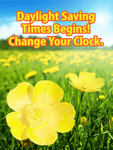 Yellow Spring Flower Daylight Saving Time Card