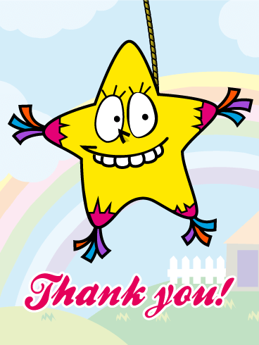 Star Piñata Thank You Card