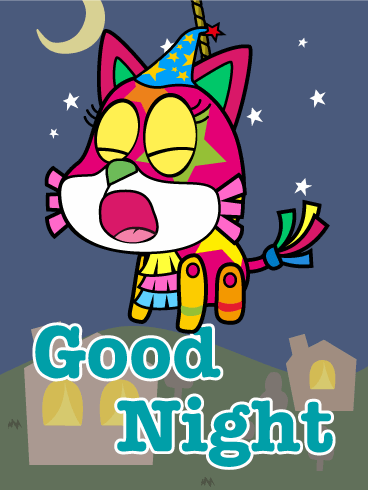 Cat Piñata Good Night Wish Card