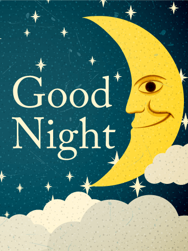 Crescent Moon Good Night Wish Card