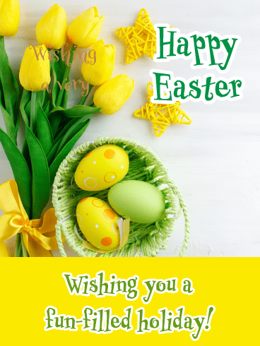 Yellow Tulips- Happy Easter Card for Her