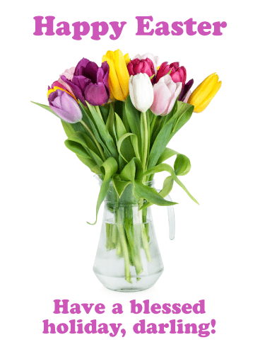 Tulip Bouquet- Happy Easter Card for Her