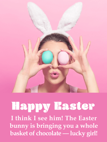 I Spy the Bunny- Funny Happy Easter Card for Her