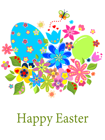 Colorful Easter Egg & Flower Card