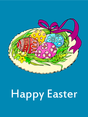 Egg & Ribbon Happy Easter Card