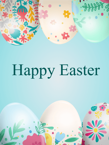 Flower Patterned Easter Egg Card
