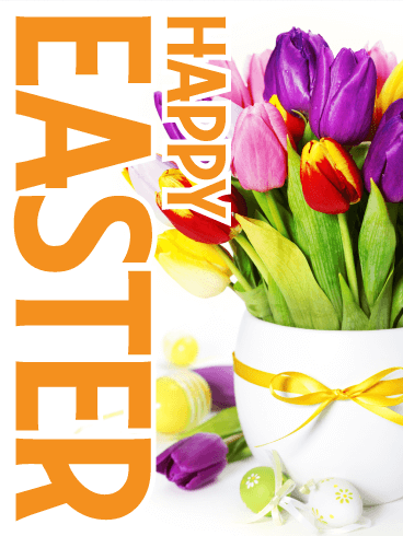 Colorful Tulip Happy Easter Card