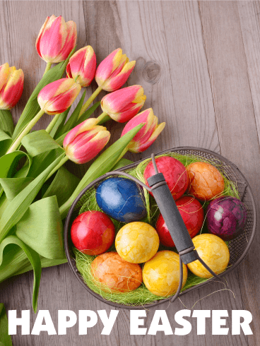 Tulips & Colorful Egg Happy Easter Card