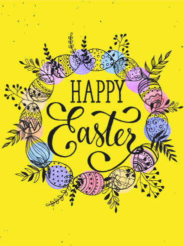 Bright Yellow Happy Easter Card
