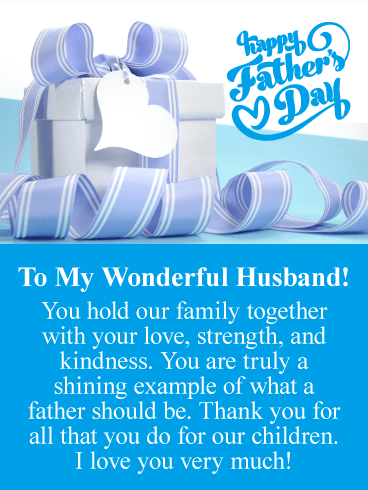 55cc3fc3 A Shining Example - Happy Father's Day Card from Wife | Birthday ...