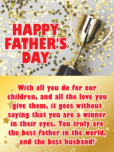 Youre A Winner Happy Fathers Day Card From Wife Birthday