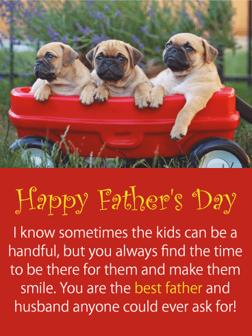Adorable Puppies - Happy Father's Day Card from Wife