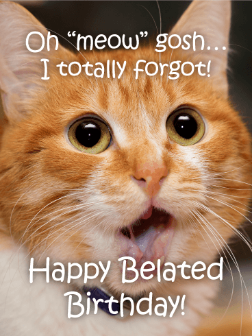Send This Shocked Kitty Funny Belated Birthday
