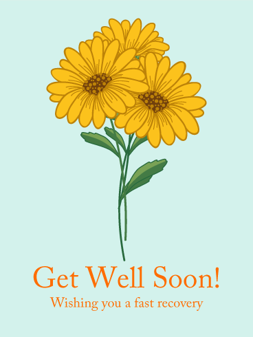Orange Flower Get Well Card