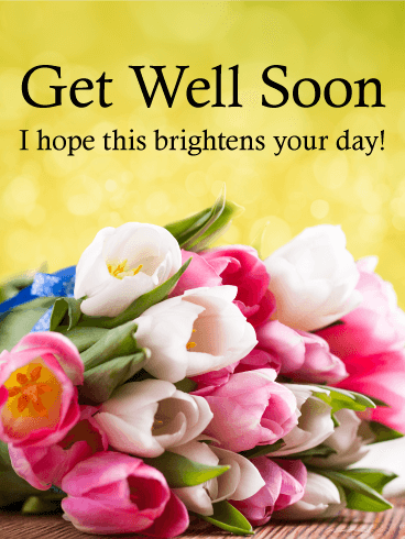 Colorful Tulip Get Well Card