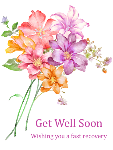 Gorgeous Flower Bouquet Get Well Card