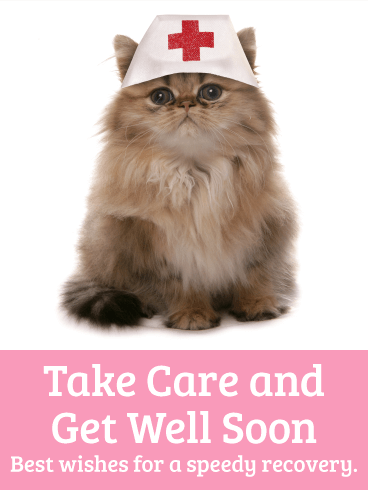 Nurse Cat Get Well Card