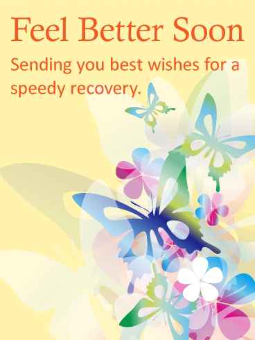 Colorful Butterflies Get Well Card
