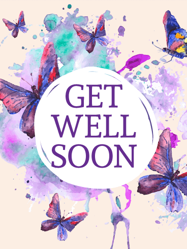 Purple Butterflies Get Well Card