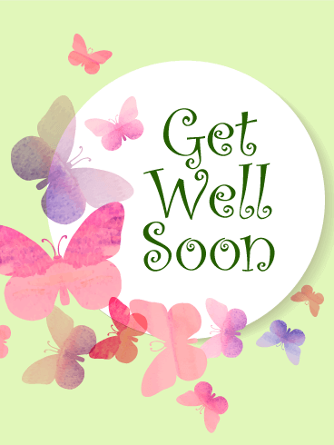 Elegant Butterflies Get Well Card