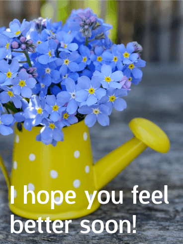 Blue Flower Get Well Card