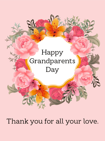 Grandparents Day Flower Wreath Card