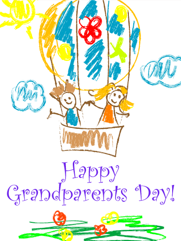 Joyful Drawing Grandparents Day Card